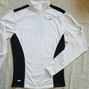 Nike boys L large white dri-fit long sleeve shirt